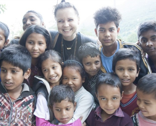Bobbi with a Group of Orphans at an Orphanage in India